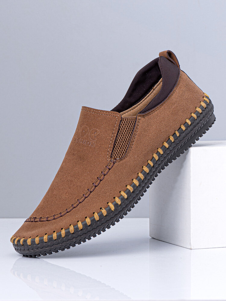 Men Synthetic Suede Hand Stitching Slip On Casual Driving Shoes