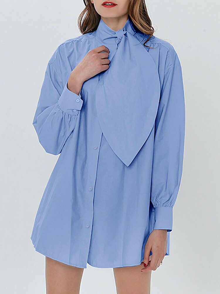Solid Color Bowknot Collar Long Sleeve Shirt For Women