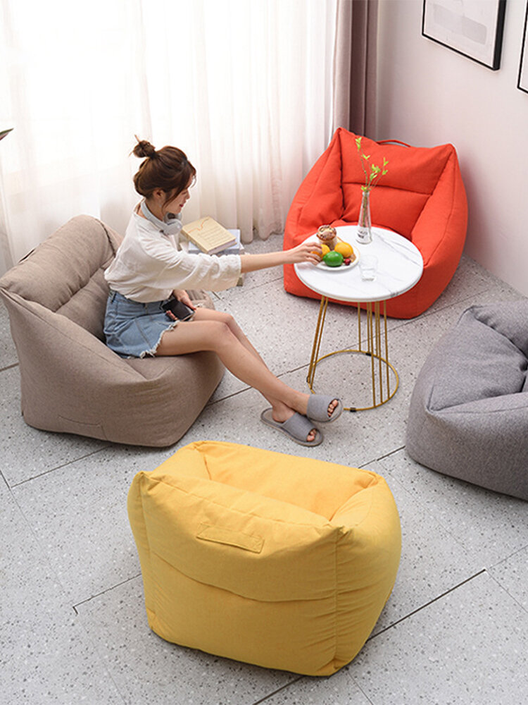 Solid Color Square Big Bean Bag Chair Covers Yellow Bean Bag Chair with Pocket for Adult Home