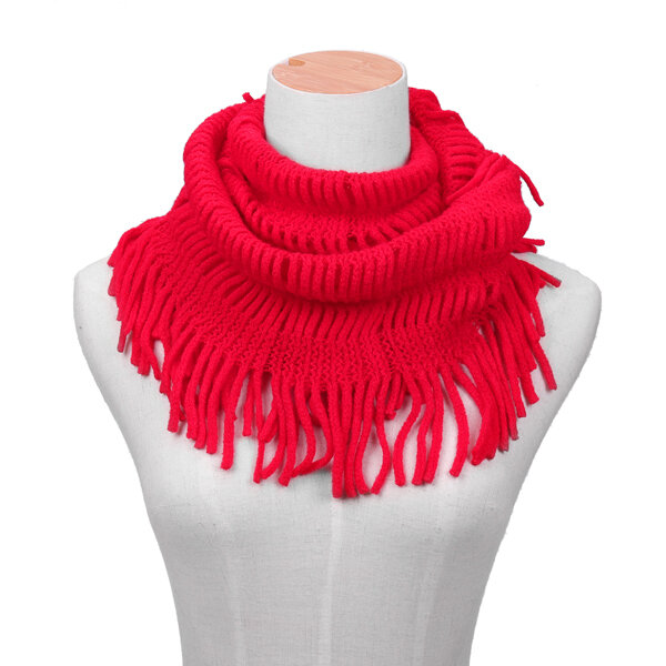 Winter Warm Thick Knitted Collar Scarves With Tassel For Women Outdoor Windproof Scarves