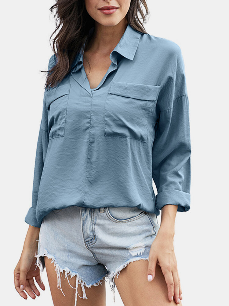 Turn Down Collar Solid Color 3/4 Sleeve Shirt For Women Cheap