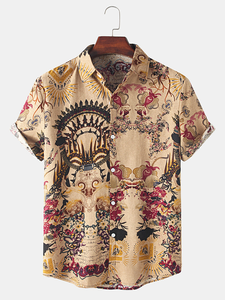 Mens Thin & Breathable Cotton Tribal Pattern Vintage Lapel Holiday Casual Shirt
