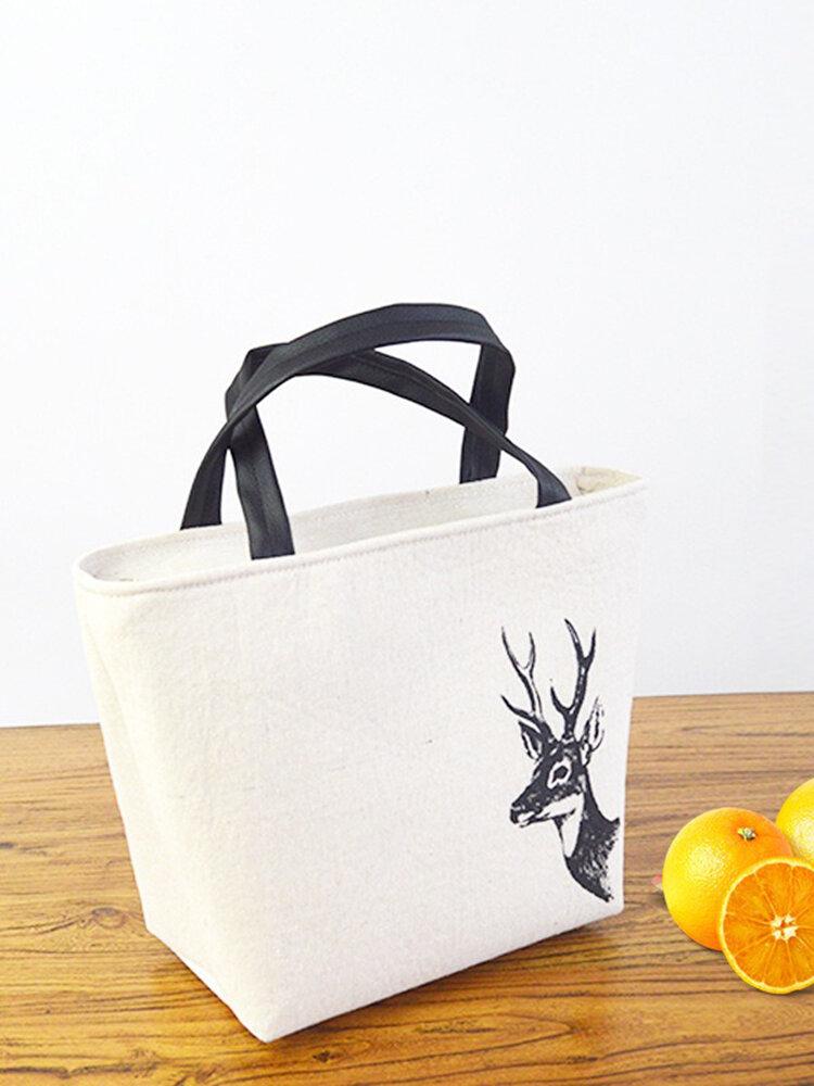 حقيبة تخزين عازلة للحمل مصنوعة من رقائق الألومنيوم السميكة من القطن والكتان ، حقيبة غداء ، نمط دب أرنب