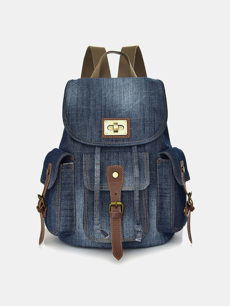 Woman Retro Denim Backpack Canvas Casual Multi-pocket Multi-function Travel bag