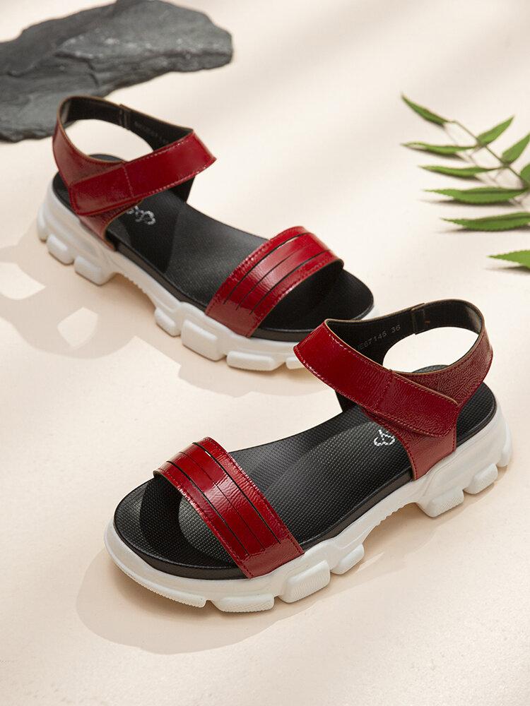 LOSTISY Women Comfy Solid Color Hook Loop Platform Sports Sandals