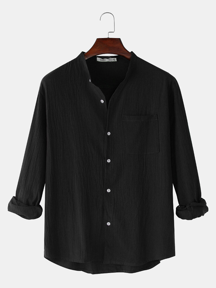 Mens Linen Solid Color Simple Stand Collar Long Sleeve Shirts With Pocket