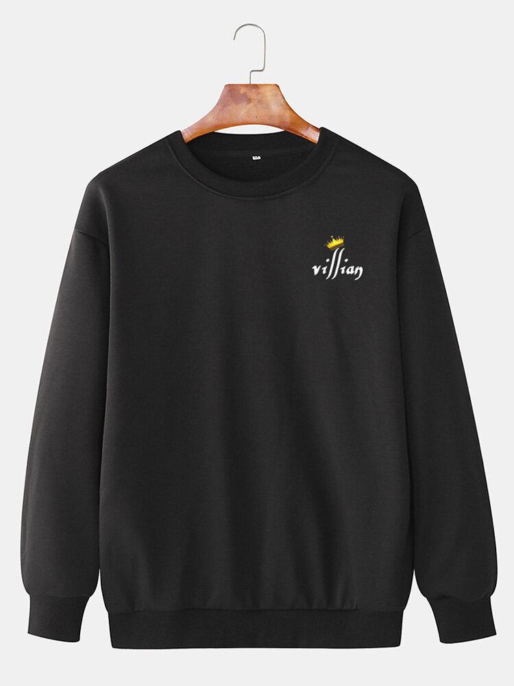 Mens Crown Letter Printing Cotton Plain Casual Crew Neck Sweatshirts