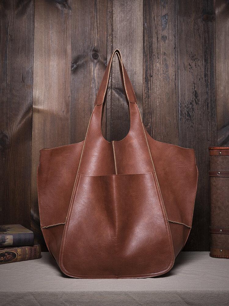 Frauen Vintage Übergroße Tasche Soft PU Leder Every Day Bag Einkaufstasche Slouchy Tote Handtasche
