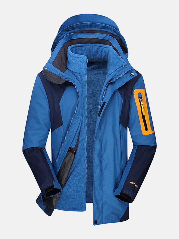 Giacche da escursionismo con cappuccio staccabili per esterno da uomo 2 in 1 idrorepellenti e traspiranti