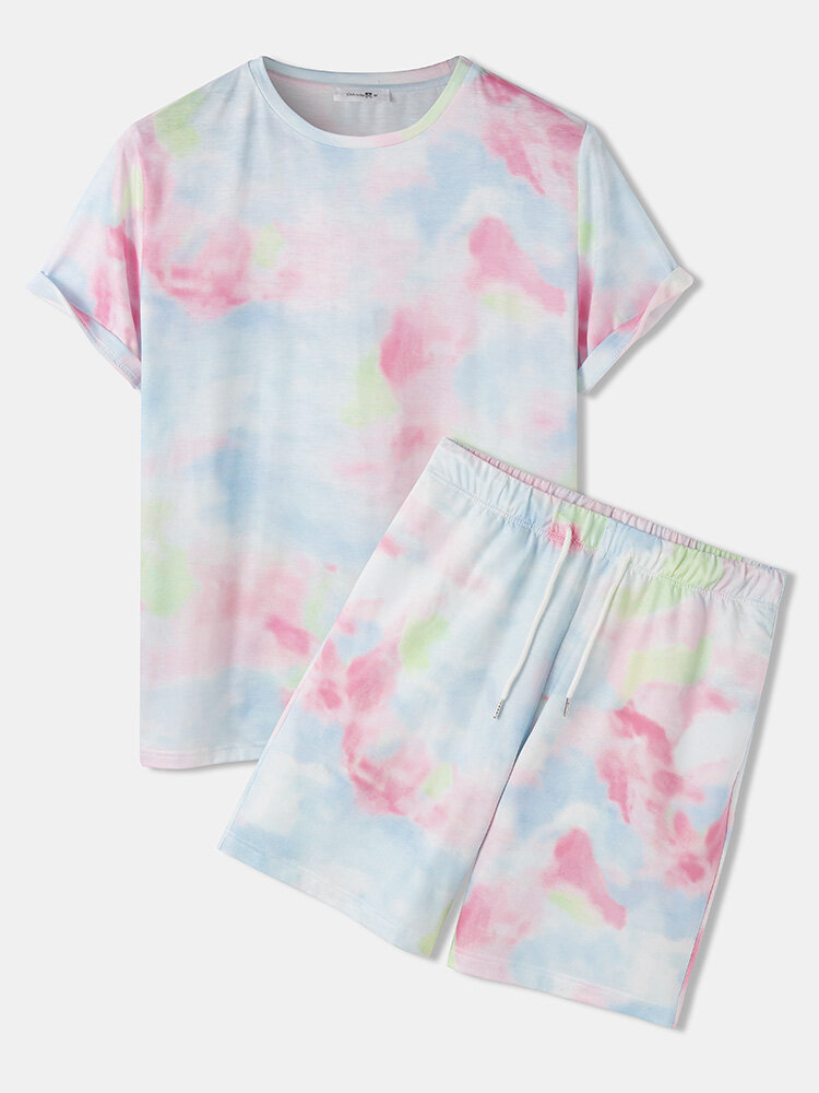 Mens Pink Tie Dye Loose O-neck Two Pieces Outfits With Drawstring Shorts