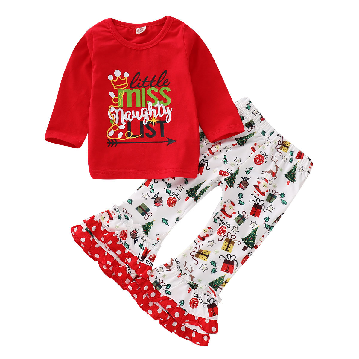 Christmas Party Girls Toddlers Printed Clothing Sets For 1Y-7Y