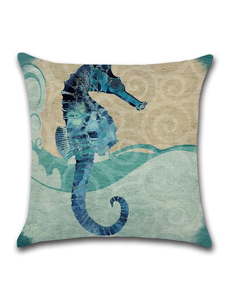 Ocean Octopus Sea House Crab Printed Cotton Linen Cushion Cover Square Sofa Car Decor Pillowcase
