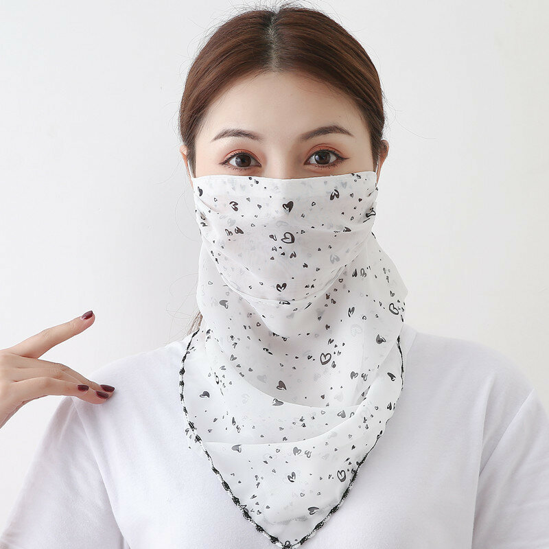 Sunscreen Scarf Ear-mounted Breathable Riding Face Mask Summer Quick-drying Printing Neck Mask