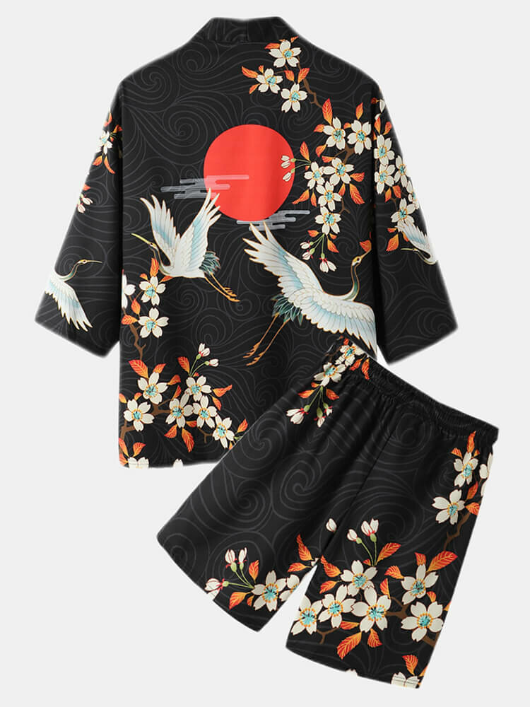 Mens Floral Crane Print Open Front Kimono Ethnic Style Two Pieces Outfits