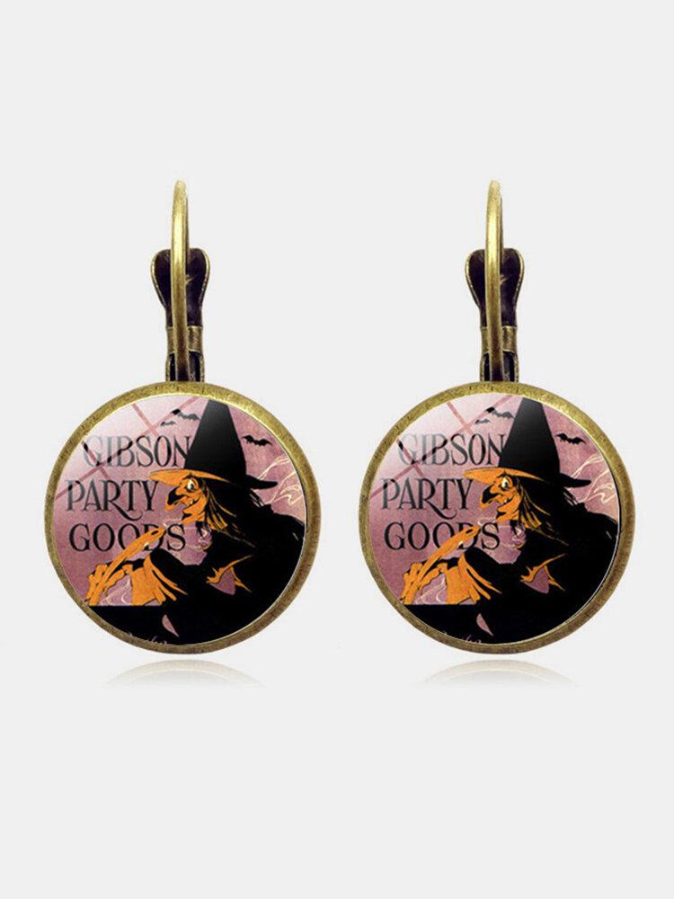 Vintage Halloween Witch Earring Bronze Round Glass Ear Drop Women Jewelry Gifts