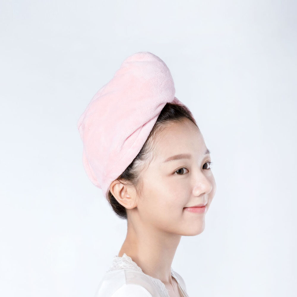 Dry Hair Cap Home Bathroom Double Button Super Absorbent Quick-Drying Polyester Hair Dry Cap Salon Towel