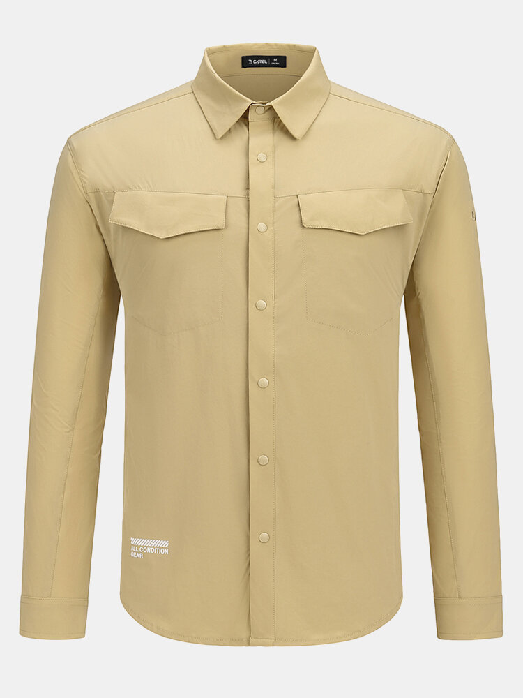 Camel Crown Mens Slogan Back Print Solid Quick Dry Breathable Thin Lapel Long Sleeve Shirts