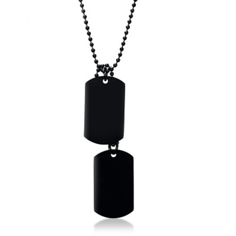 Stainless Steel Double Dog Tag Pendant Necklace Simple Classic Pure Color Chain Necklace for Men