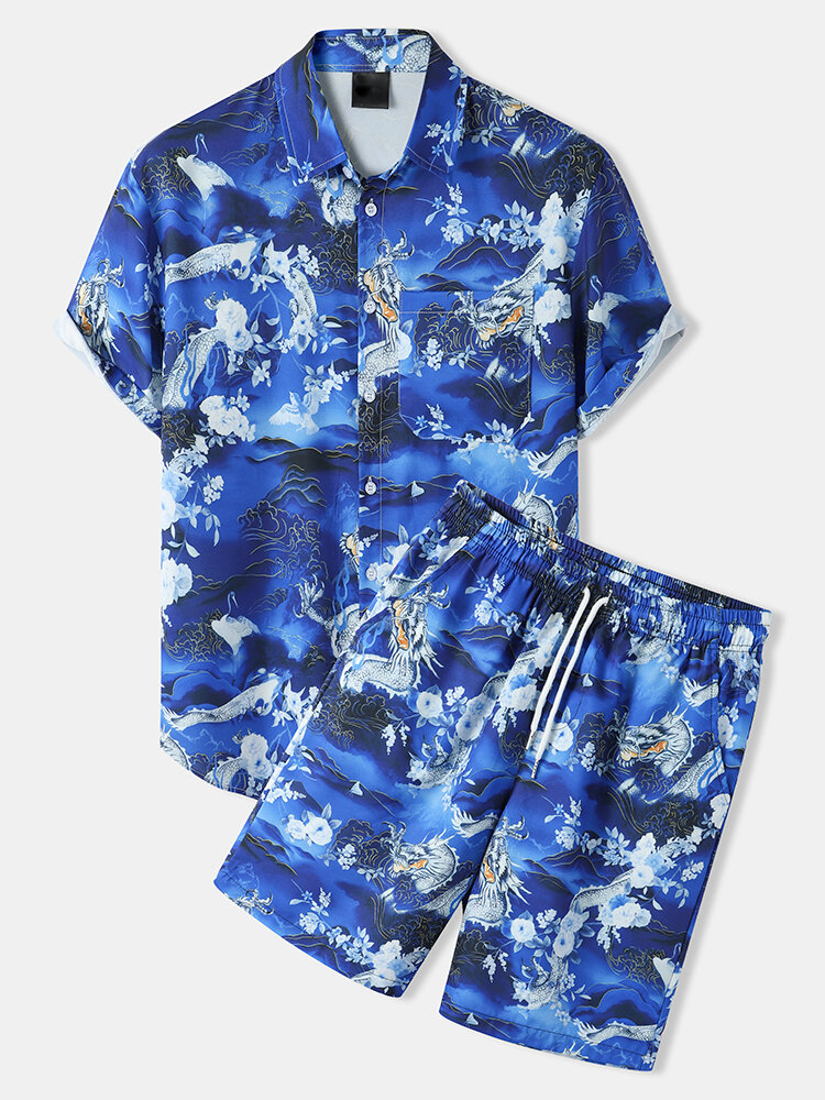 Mens Chinese Landscape Painting Print Button Up Two Pieces Outfits