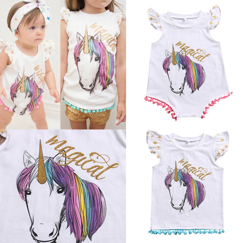 Animal Printed with Cute Ball Decor Baby Infant Girls Romper / T shirt Sister Clothes