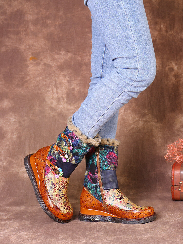 SOCOFY Retro Genuine Leather Colorful Printed Warm Lining Wearable Sole Platform Wedges Snow Boots