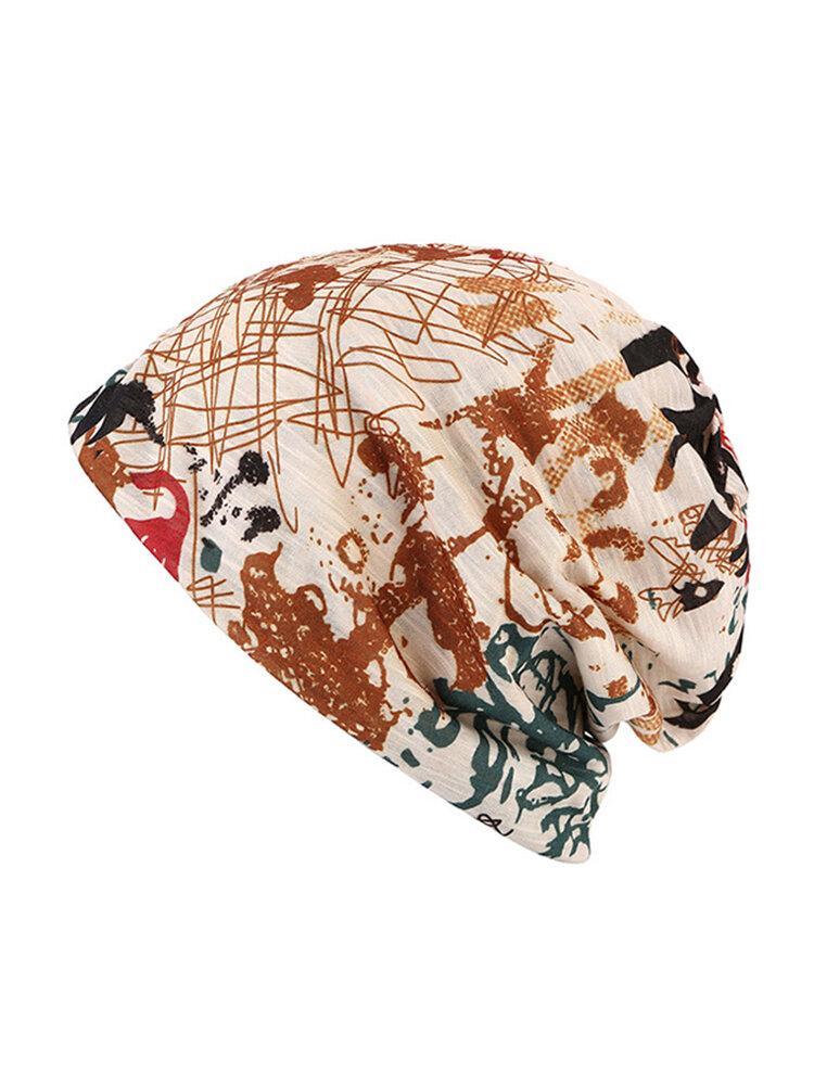 Women Graffiti Skullies Beanies Cap Travel Warm Cotton Bonnet Hat Multifunction Towel