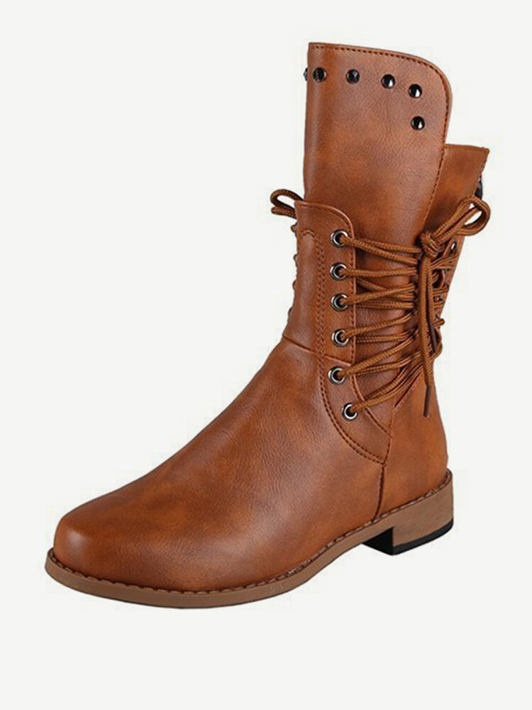 Women Casual Warm Wearable Solid Color Lace Up Flat Mid-Calf Riding Boots