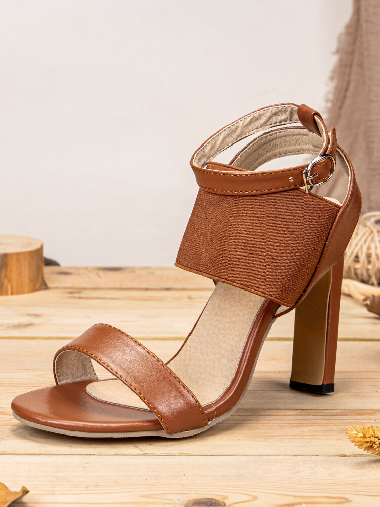 Large Size Lady Party Peep Toe Elastic Band Ankle Buckle Strap High Heel Sandals