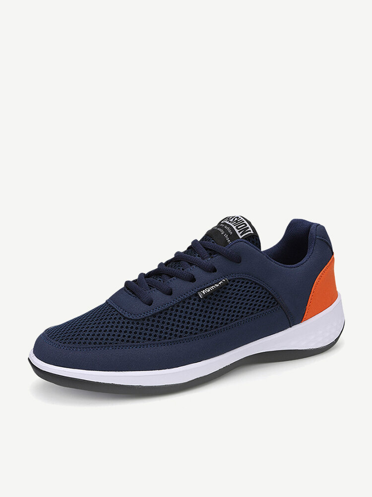 Men Breathable Mesh Leather Splicing Non Slip Casual Sport Shoes
