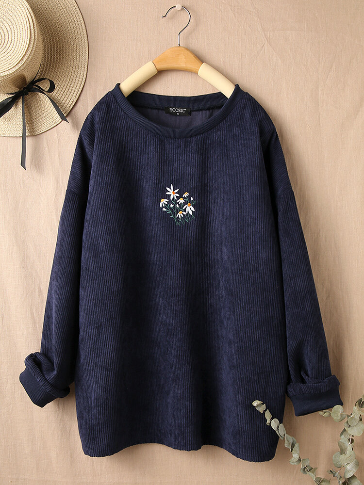 Flower Embroidery Long Sleeve O-neck Corduroy T-shirt For Women