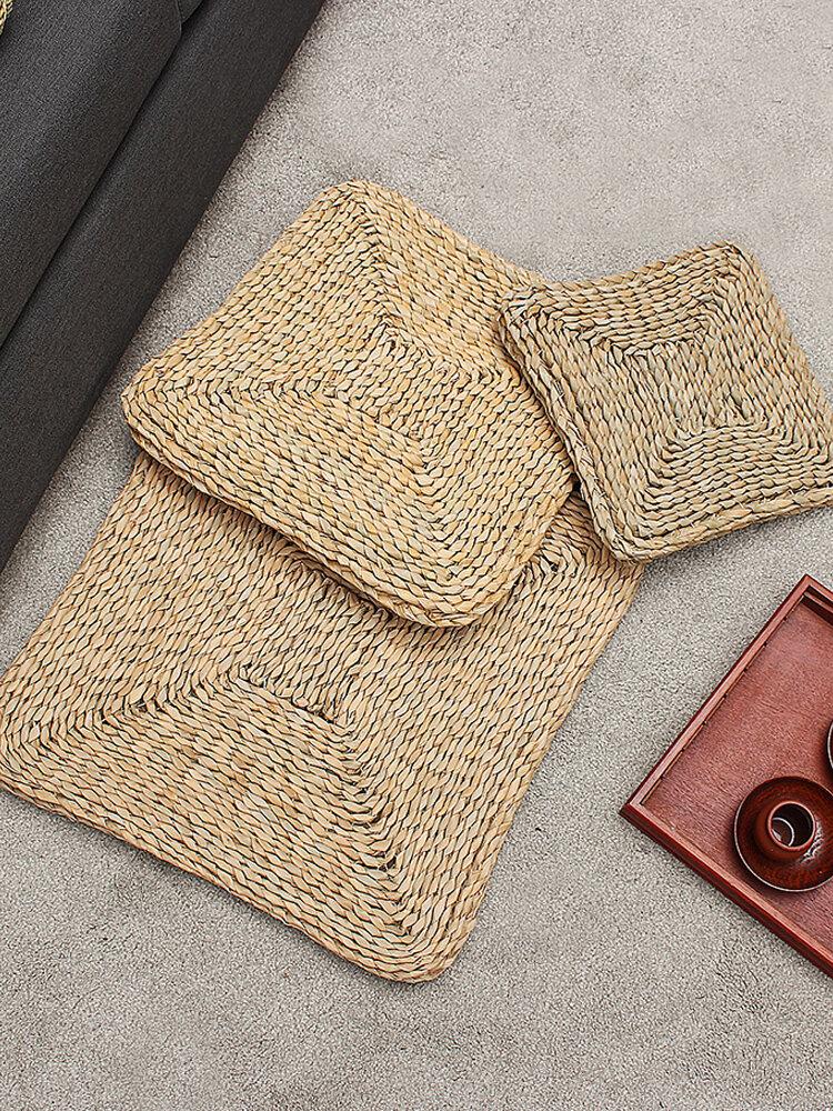 30/40/50 cm Cuscino in paglia quadrato non riempitivo a doppio strato Cuscino in rattan per meditazione