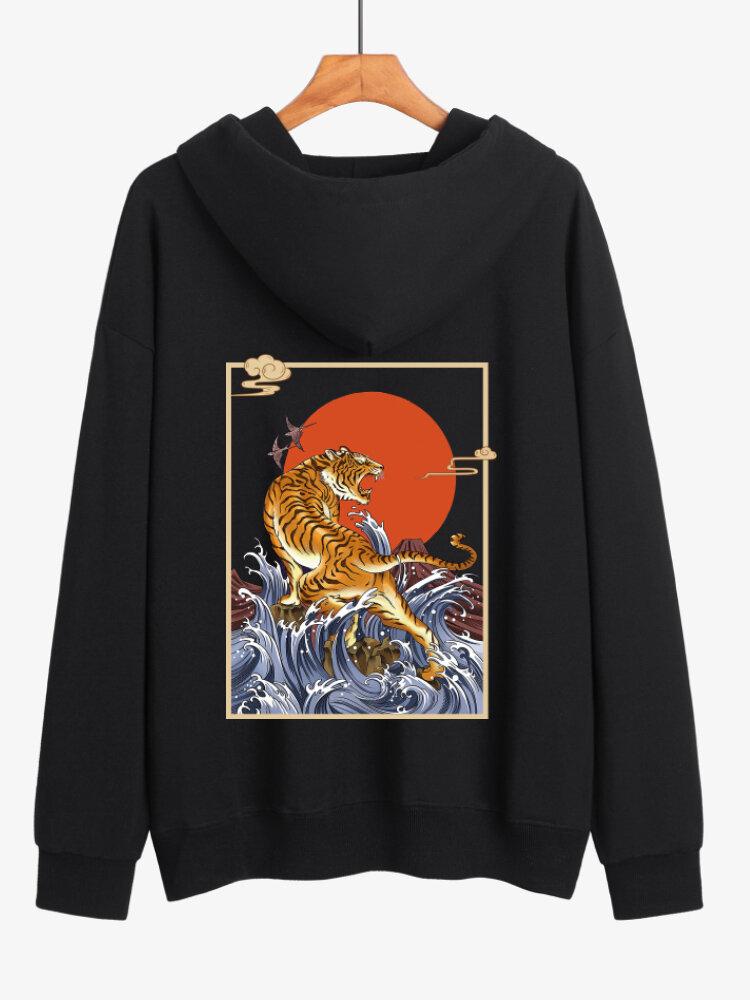 Mens Tiger Graphic Back Print Cotton Daily Kangaroo Pocket Pullover Hoodie