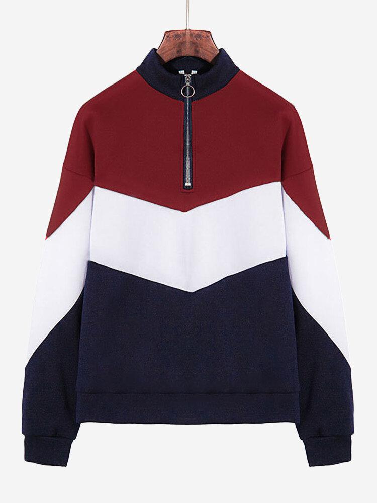 Patchwork Contrast Color High Neck Casual Sweatshirt