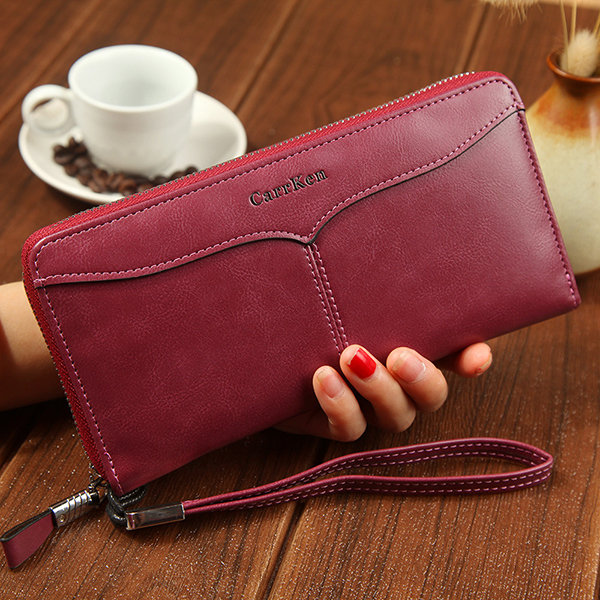 Men And Women Bifold Faux Leather Retro 12 Card Slot Long Wallet Solid Phone Purse (SKUA19404) photo