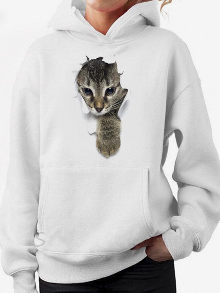 Cat Print Long Sleeves Hooded Casual Hoodies For Women