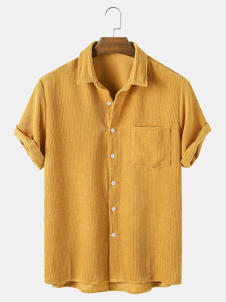 Mens Corduroy Solid Color Breathable Casual Short Sleeve Shirts