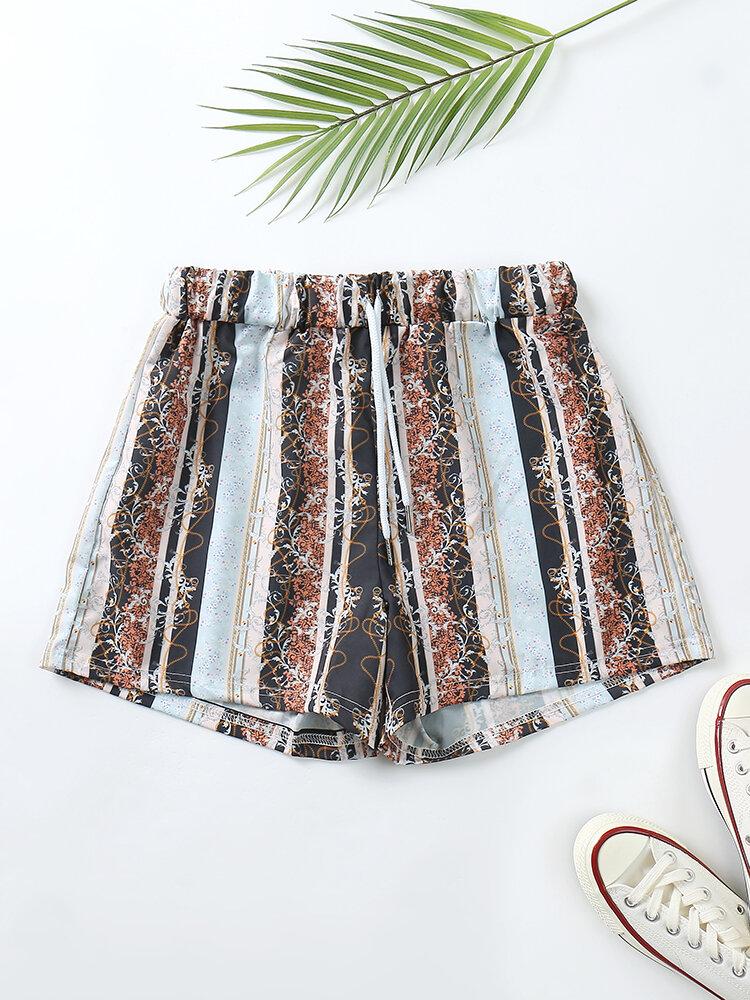 Plus Size Women Baroque Ditsy Floral Print Shorts Vintage Drawstring Pajamas Bottoms