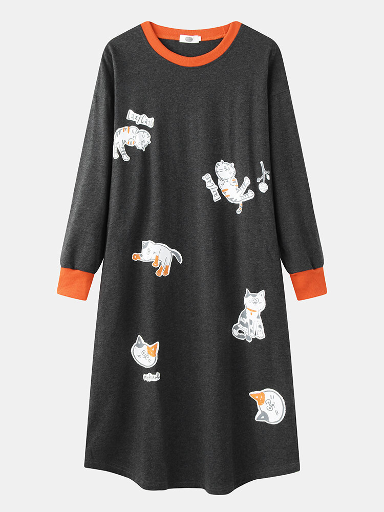 Women Cartoon Cats Print O-Neck Long Sleeve Cotton Thick Plus Size Nightgown With Pocket