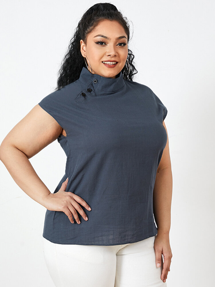 Solid Color Stand Collar Short Sleeve Plus Size Button Blouse for Women