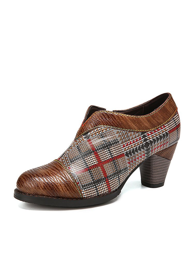 SOCOFY Elegant Argyle Printed Splicing Comfy Round Toe Chunky Heel Zipper Ankle Heels
