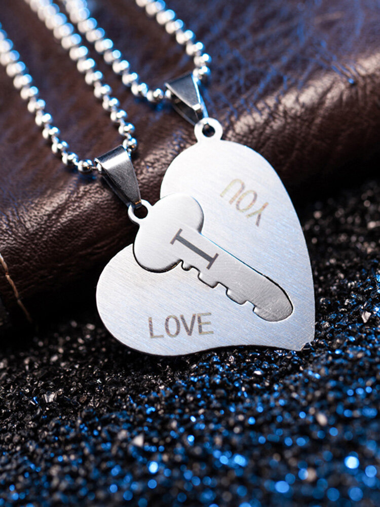1 Pair Key Splicing Couple Necklace Stainless Steel Heart Letter Pendant Necklace Valentine's Day Gift