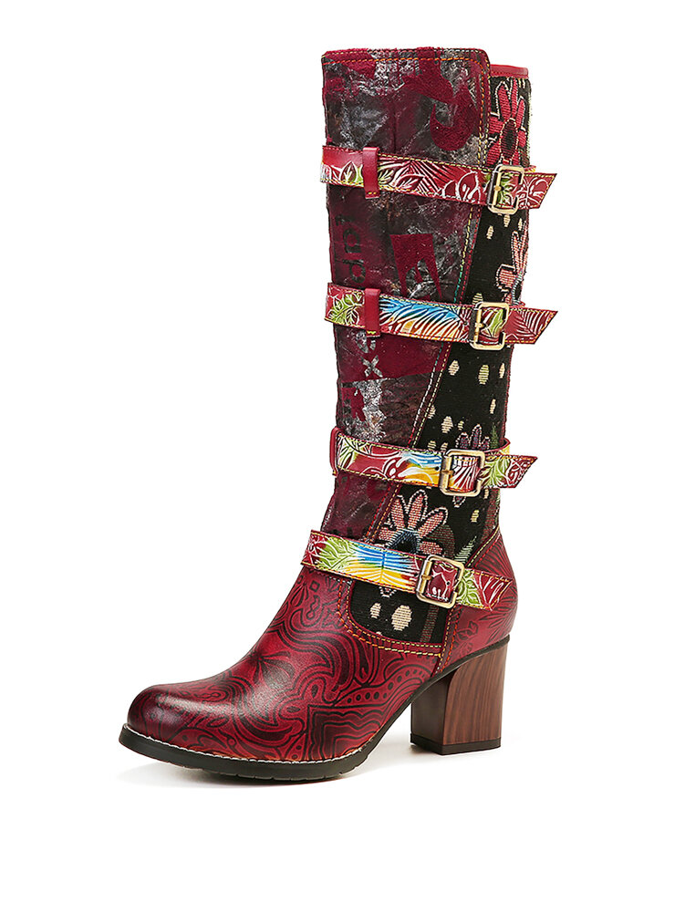 SOCOFY Retro Metal Buckles Embossed Genuine Leather Stitching Mid Calf Tall High Heel Boots