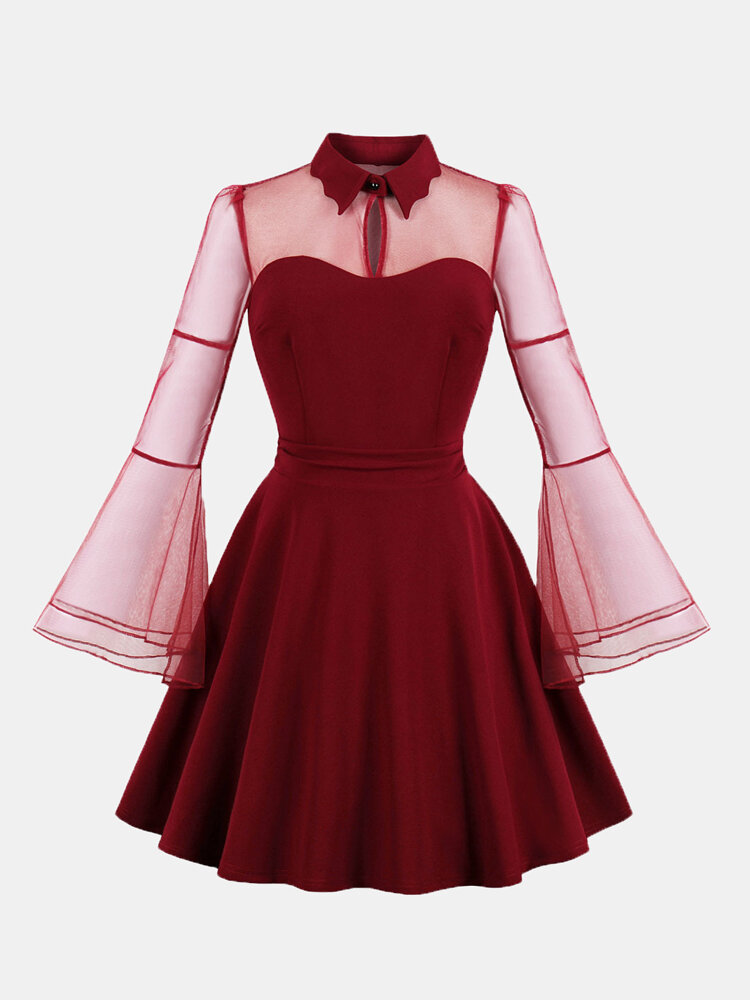 Solid Color Lapel Bell Sleeve Plus Size Mesh Dress for Women
