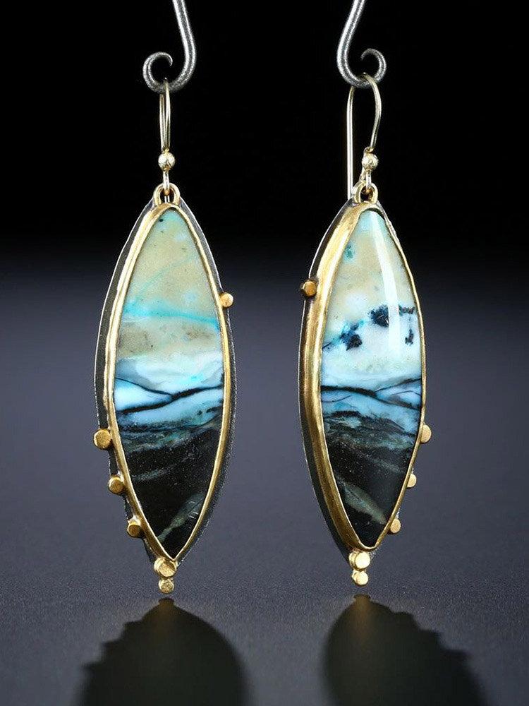 Vintage 925 Silver Plated Women Earrings Artificial Opal Landscape Painting Pendant Earrings