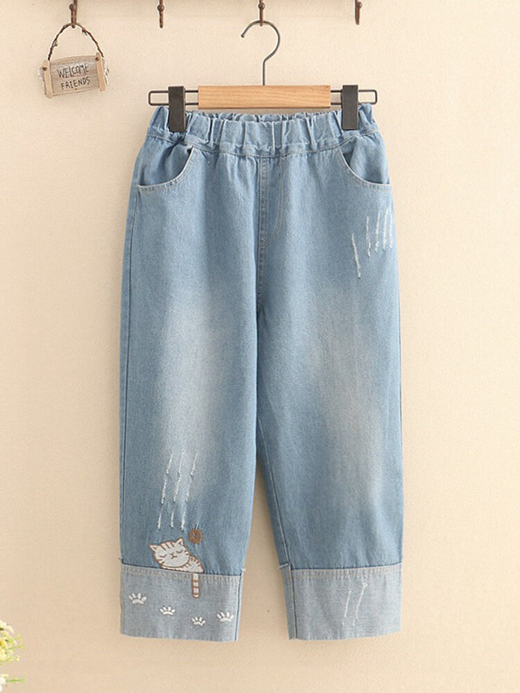 Vintage Embroidery Wide Legs Jeans for Women