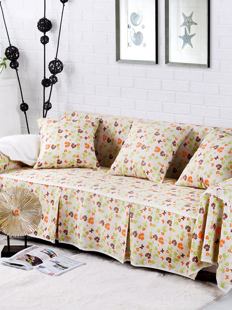 Pastoral Floral Style Sofa Cover Couch Slipcover Cotton Blend 1-4 Seater Sofa Protector Chair Covers