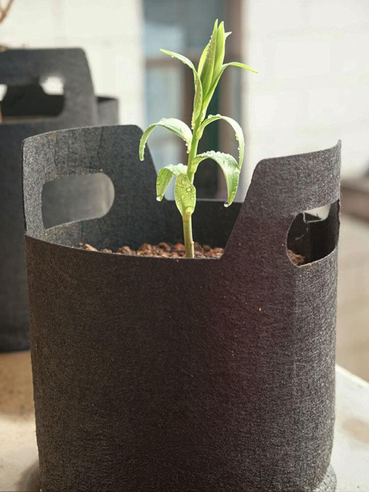 黒い非編まれた生地の植わる袋は/袋を植えるバッグ植栽袋を育てます