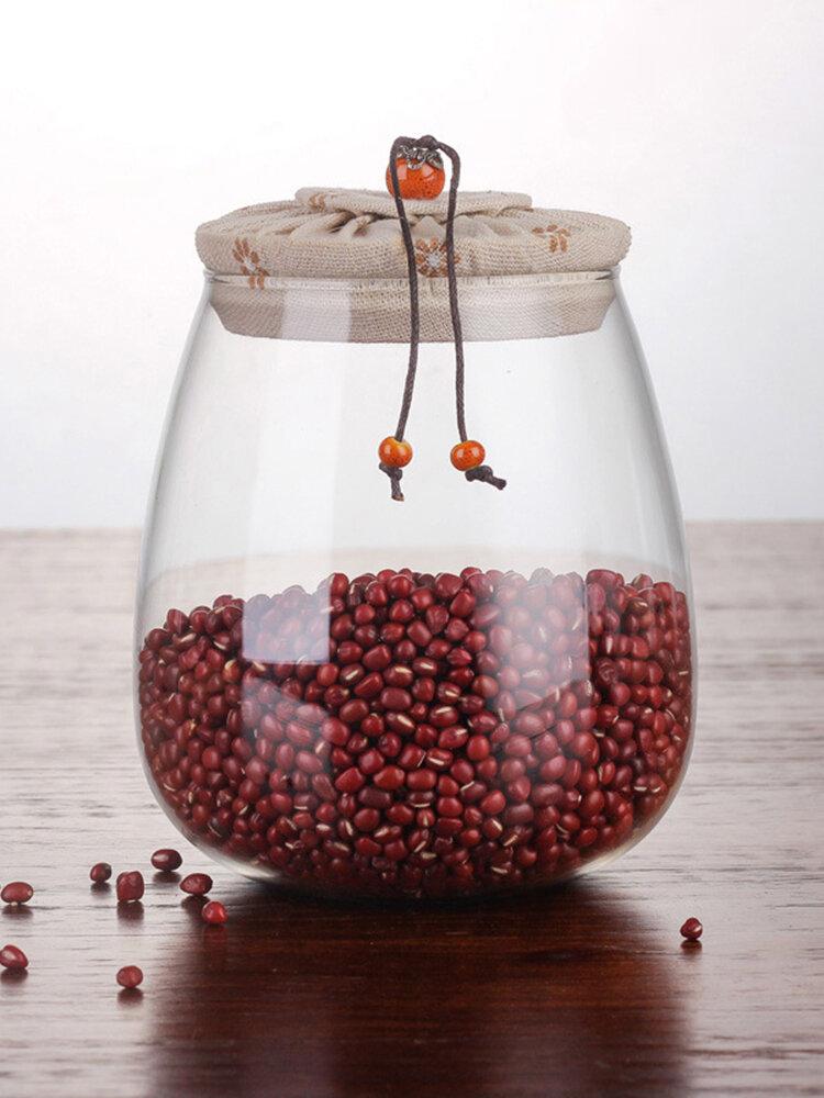Cork Transparent Glass Tea Cans Sealed Fower Tea Pots Candy Food Grain Storage Tanks
