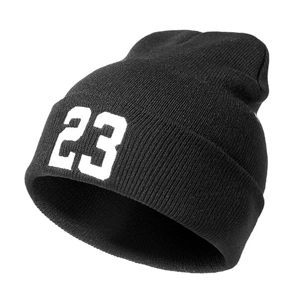Women Men Autumn Beanie Printing23 Cap Warm Woolen Hip Hop Knitted Hat