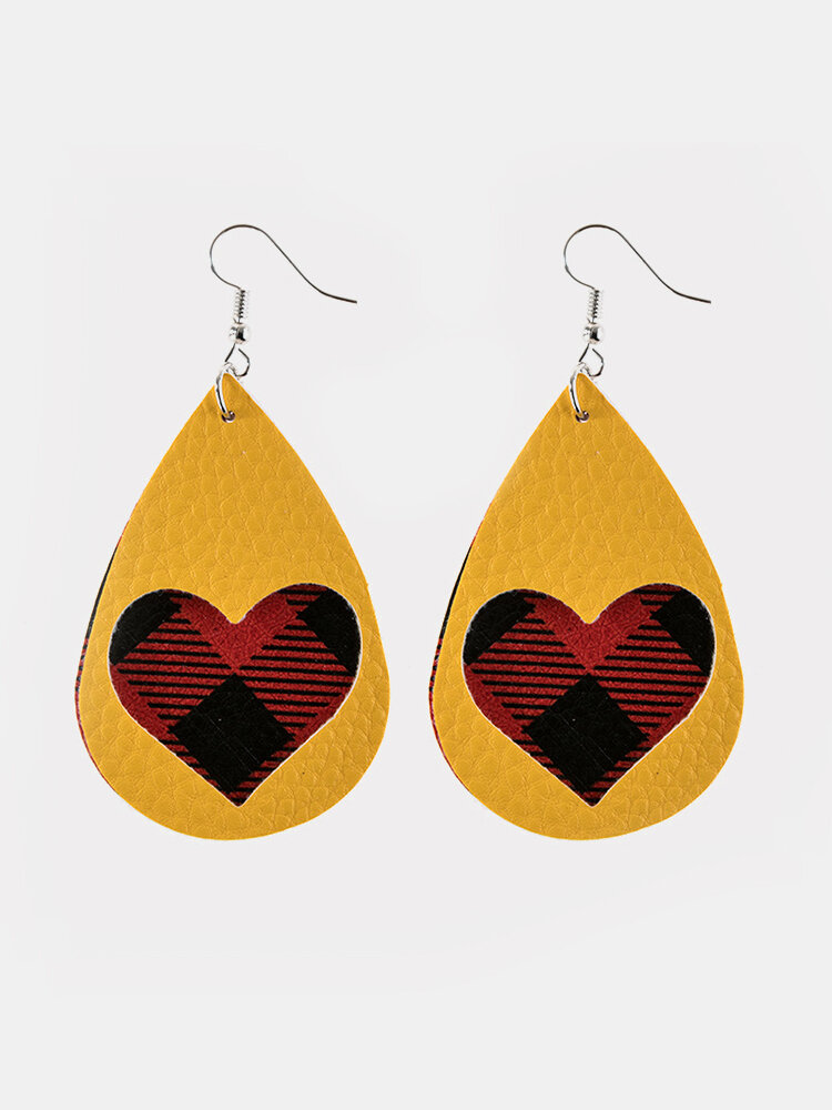 Vintage Drop-Shape Hollow Plaid Pattern Valentine's Day Heart PU Leather Earrings